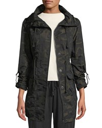 Blanc Noir Camo Print Hooded Anorak Jacket Green Pattern