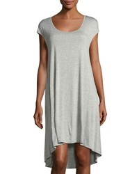 Three Dots Easy Scoop Neck High Low Dress Gray