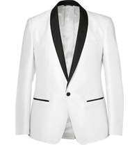 Dolce And Gabbana White Slim Fit Grosgrain Trimmed Jacquard Tuxedo Jacket White