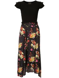 Loveless Floral Ruffle Skirt Black