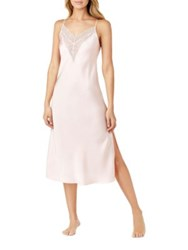 H Halston Satin Charmeuse And Lace Long Nightgown White