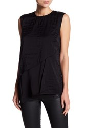 Dkny Layered Quilted Silk Blend Tank Black