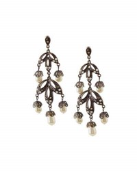 Lydell Nyc Hematite Crystal And Simulated Pearl Chandelier Earrings Gray