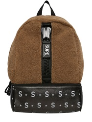 Supe Design Faux Shearling Backpack Brown