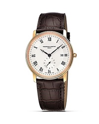 Frederique Constant Slim Line Quartz Watch 39Mm Gold Brown Croc