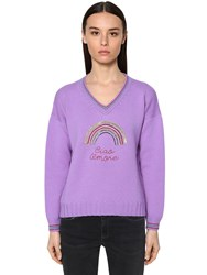 Giada Benincasa Embellished Virgin Wool Knit Sweater Lilla
