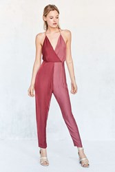 Silence And Noise Sweet Salty Satin Colorblock Jumpsuit Maroon
