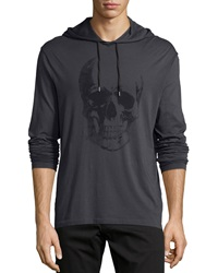 John Varvatos Painted Skull Graphic Hooded Sweater Black