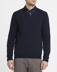 Hackett Beige Contrasting Elbow Patches V Neck Sweater Blue