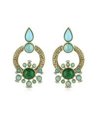 Roberto Cavalli Bohemian Gold And Turquoise Earrings