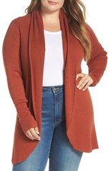 Leith Plus Size Ribbed Shawl Collar Cardigan Brown Spice