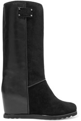 Marc By Marc Jacobs Leather And Suede Wedge Knee Boots Black