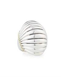 Lagos Sterling And 18K Fluted Statement Ring Silver