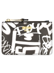 Moschino Graffiti Print Coin Purse Black