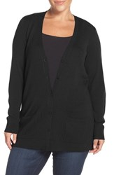 Sejour Plus Size Women's Ribbed V Neck Cardigan Black