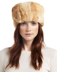 Adrienne Landau Knit Rabbit Fur Hat Honey