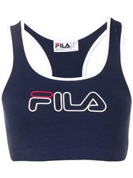 Fila Logo Embroidered Cropped Top Blue