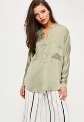 Missguided Petite Exclusive Green Satin Pocket Detail Shirt