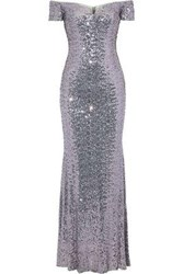 Badgley Mischka Woman Off The Shoulder Sequined Tulle Gown Lilac