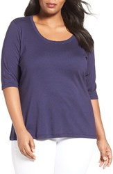Sejour Plus Size Women's Elbow Sleeve Scoop Neck Tee Navy Dusk