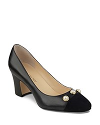 Ivanka Trump Landri Leather And Suede Faux Pearl Embellished Cap Toe Pumps Black