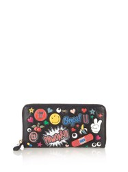 Anya Hindmarch All Over Stickers Zip Around Leather Wallet Black Multi