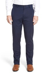 Men's Linea Naturale Stretch Cotton And Modal Flat Front Pants Navy