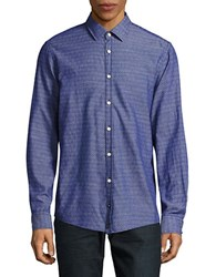 Strellson Casual Modern Fit Textured Woven Shirt Navy