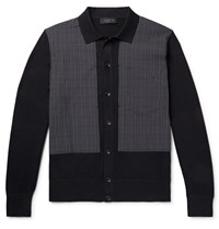 Rag And Bone Marco Panelled Checked Cotton Blend Cardigan Black