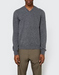 Comme Des Garcons Play V Neck Pullover In Grey