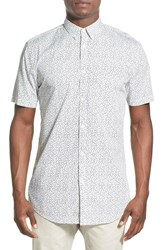 Men's Zanerobe 'Seven Ft' Longline Short Sleeve Print Woven Shirt White