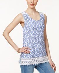 Charter Club Printed Crocheted Hem Tank Top Only At Macy's