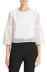Tibi Women's Bell Sleeve Cotton Eyelet Crop Top White