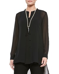 Eileen Fisher Long Sleeve Sheer Silk Long Shirt Petite Women's Black