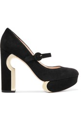 Nicholas Kirkwood Metallic Trimmed Suede Mary Jane Platform Pumps Black