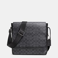 Coach Metropolitan Map Bag In Signature Coated Canvas Black Antique Nickel Charcoal