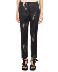 Dries Van Noten Paola Floral Jacquard Skinny Pants Black