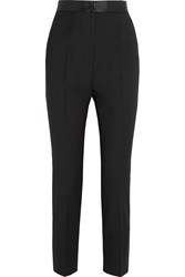 Dolce And Gabbana Satin Trimmed Stretch Wool Blend Tapered Pants