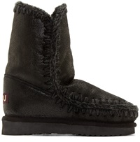 Mou Black Cracked Shearling Eskimo 24 Boots