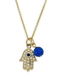 B. Brilliant 18K Gold Over Sterling Silver Necklace Cubic Zirconia Hamsa And Ball Pendant 1 5 Ct. T.W.