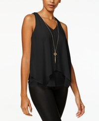 Amy Byer Bcx Juniors' Layered Tank Top With Necklace Black