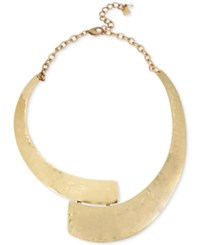 Robert Lee Morris Soho Gold Tone Hammered Collar Necklace 6 3 Extender Soft Gold