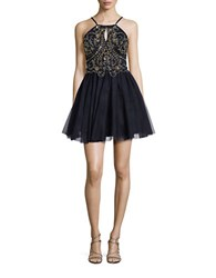Blondie Nites Sequined And Beaded Fit And Flare Dress Navy Gold