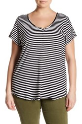 14Th And Union Striped Raw Cut V Neck Tee Plus Size Black