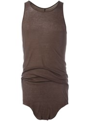 Rick Owens Long Racerback Vest Brown