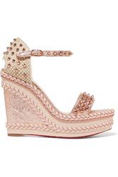 Christian Louboutin Madmonica 120 Spiked Metallic Cracked Leather Espadrille Wedge Sandals Pink Gbp