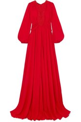 Giambattista Valli Guipure Lace Trimmed Gathered Crepe De Chine Gown It42