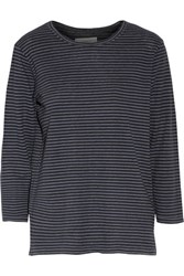Current Elliott The Game Day Striped Linen And Cotton Blend Top Black