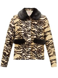 Shrimps Duke Tiger Print Faux Fur Jacket Brown Multi