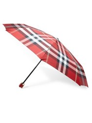 Burberry Check Trafalgar Folding Packable Umbrella Parade Red